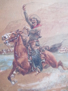 Cowboy on Horseback watercolor by H. Hansen estimated to sell in $10,000's in our August auction