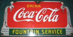 Small Art Deco Coca Cola sign sold well at our April 2008 auction
