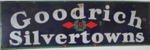 Goodrich Silvertowns enamel tire advertising sign in our August 27th auction