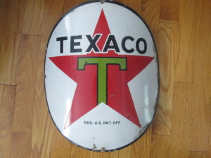 Small 1955 Curved Texaco sign brought $230 at our Sept. 2013 auction