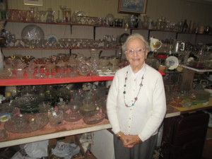Maureen Prokos in her Soutbridge antique shop