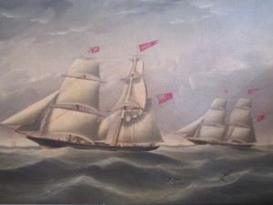 1852 Oil painting of clipper ships in our January 28th auction