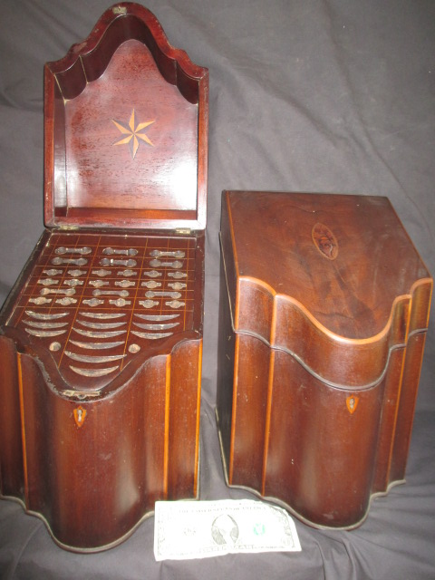 Georgian knife boxes - sold at auction from Lexington, MA estate