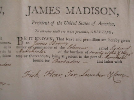 1809 ship movement document during term of President James Madison