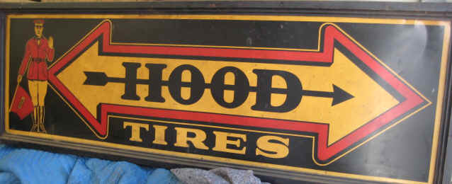 Early 20th Century tin Hood Tires advertising sign